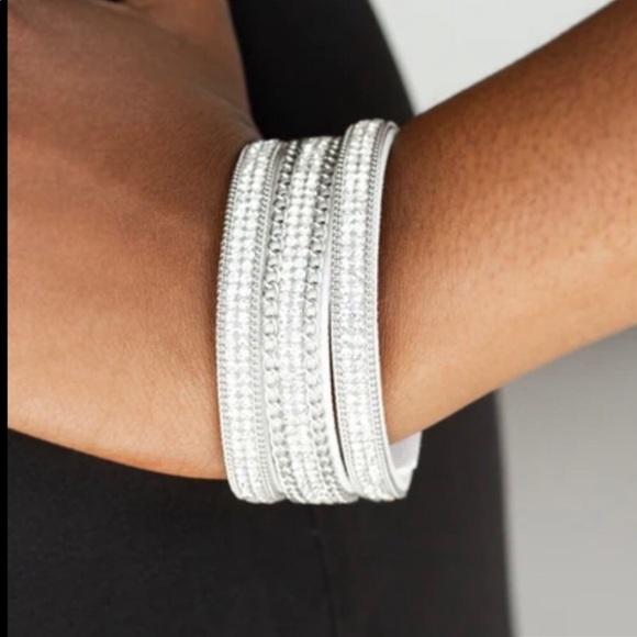 K16 White suede rhinestone snap bracelet